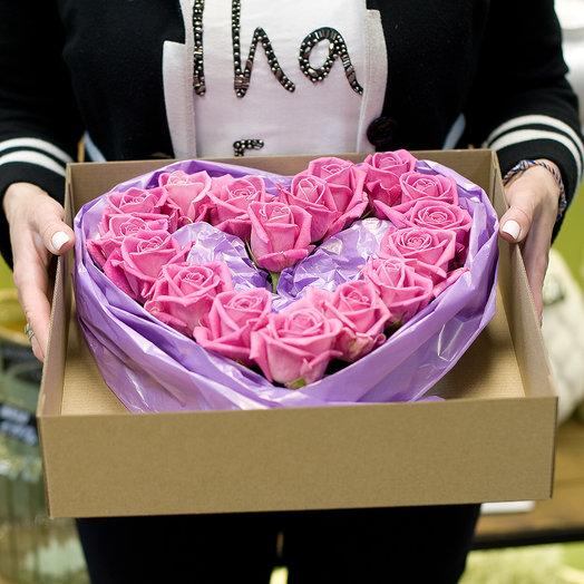 """Сердце из роз """"Романтик"""": букеты цветов на заказ Flowwow"""