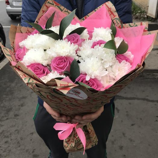 Букет из Хризантем с Розами: букеты цветов на заказ Flowwow