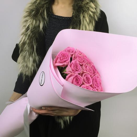 Букет из 19 розовых роз Pink: букеты цветов на заказ Flowwow