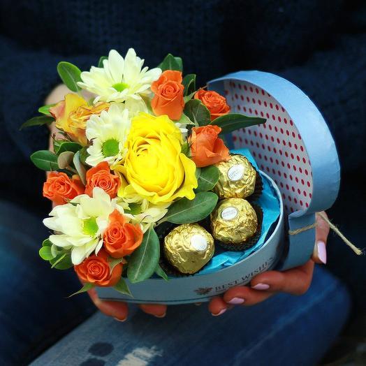 """Яркое сердце """"Для тебя!"""": букеты цветов на заказ Flowwow"""