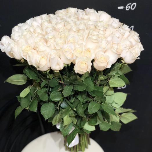 101 белая роза 60 см (Эквадор)