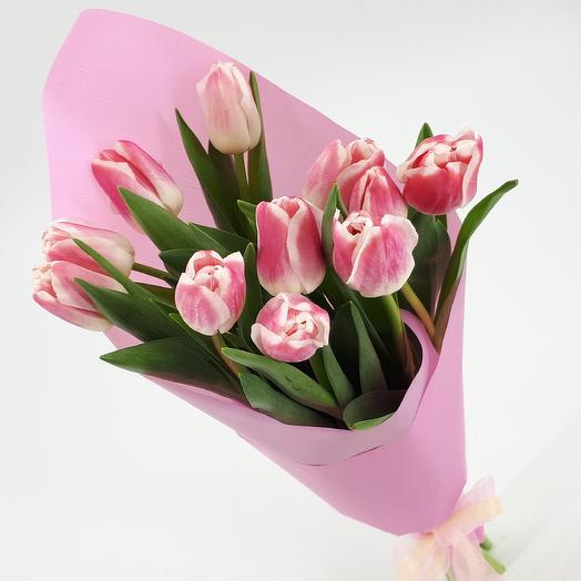 11 pink and white tulips