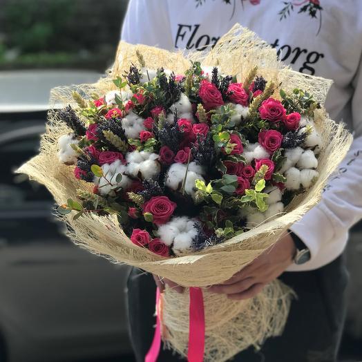 Кустовая роза, хлопок, пшеница , лаванда, эвкалипт. N412: букеты цветов на заказ Flowwow