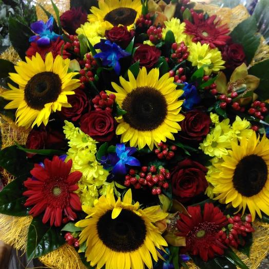 Сборный букет с подсолнухами: букеты цветов на заказ Flowwow