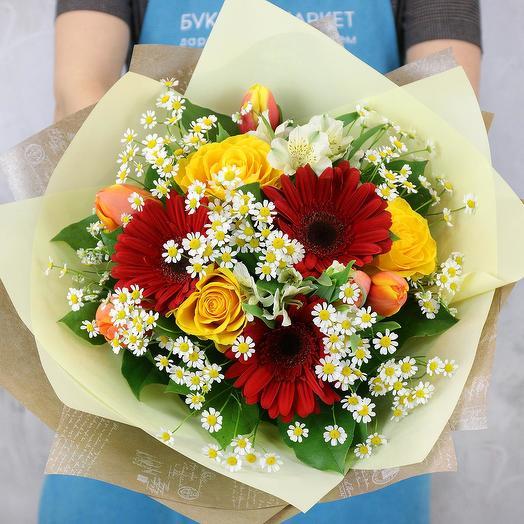 Букет из гербер и ромашек: букеты цветов на заказ Flowwow