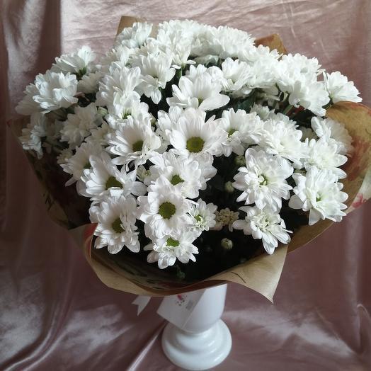 9 хризантем в крафте: букеты цветов на заказ Flowwow