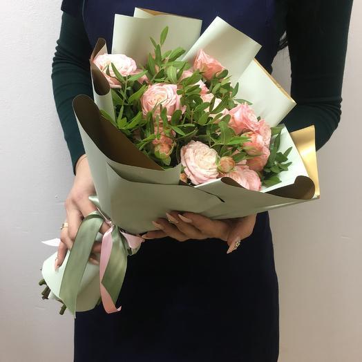 Букет из 9 пионовидных роз Бомбастик ( 40 см): букеты цветов на заказ Flowwow