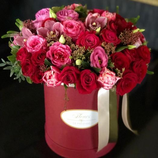 Бордовая Коробка с розами и орхидеей
