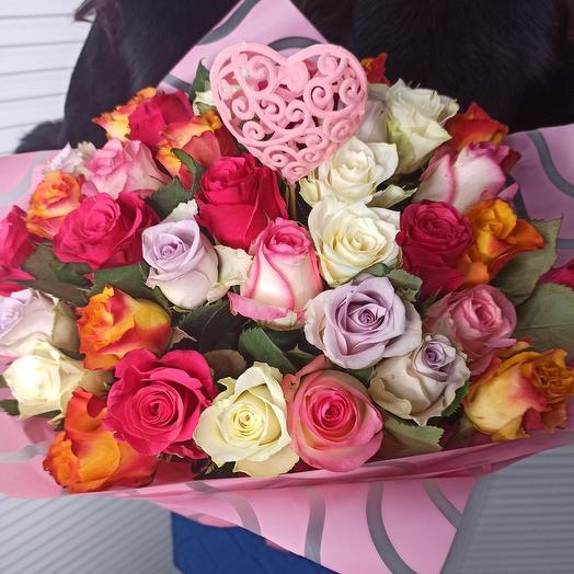 35 роз, микс: букеты цветов на заказ Flowwow