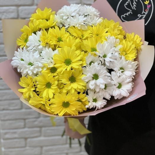 Букет из ромашковой хризантемы Желто-Белый