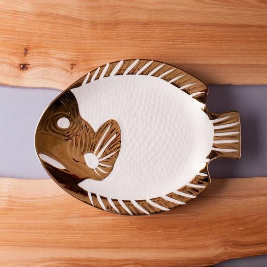 """Блюдо  """"Рыбка"""" кругл.большое из керам"""