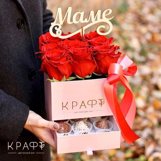 Цветы в коробке с клубникой + топпер