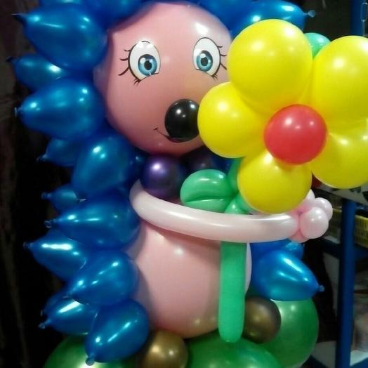 Ежик с синими колючками, из шариков
