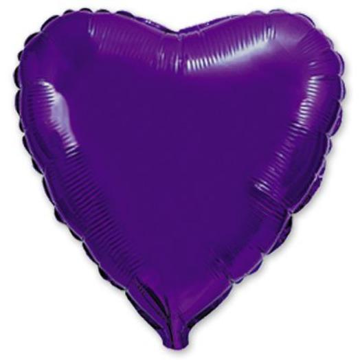 """Шар с гелием сердце 18""""/46 см фиолетовый"""