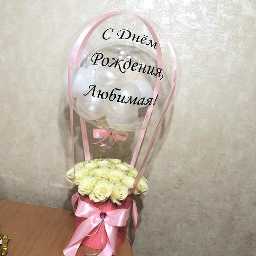 Букет с шаром 25 роз