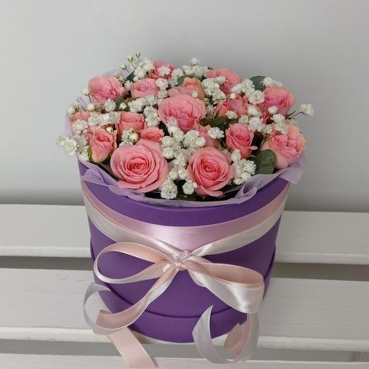 """""""Розовый мусс"""" С розами в шляпной коробке"""