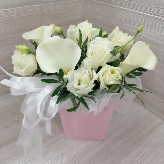 White chocolate colors💘 (calla lilies with lisianthus)