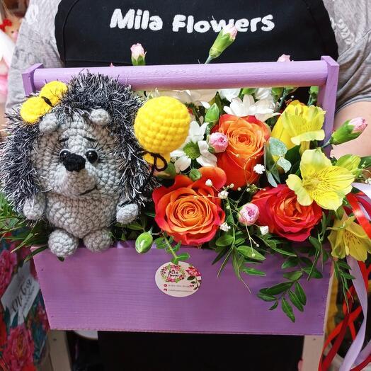 Цветы в ящике+ёжик с шариком(ручная работа)
