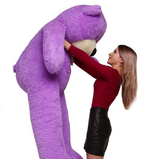 Большой фиолетовый плюшевый мишка 160 см