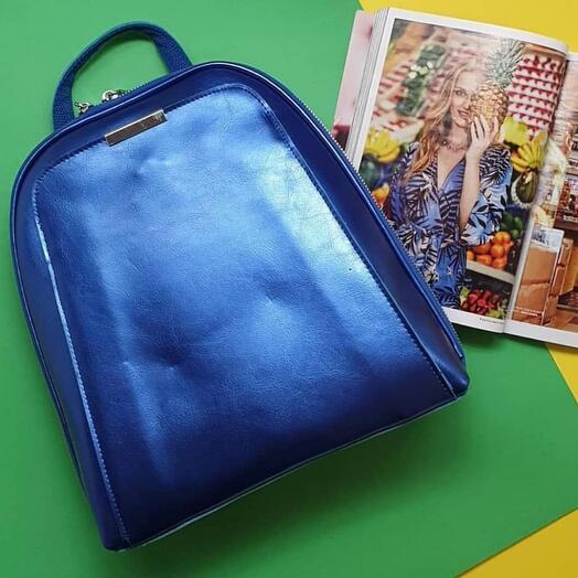Рюкзак из натуральной кожи цвета «электрик»