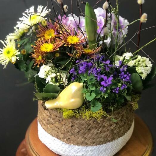 Лукошко с цветущими растениями