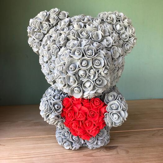Flowers Lovers - мишка из роз стоячий с сердцем серый