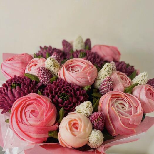 БУКЕТ ЦВЕТОЧНЫХ КАПКЕЙКОВ из Пионов и хризантем и гиацинтов 15 цветов