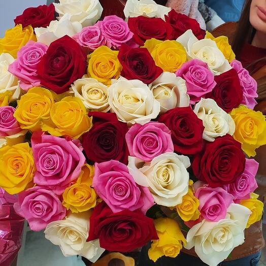💐51 разноцветная  роза