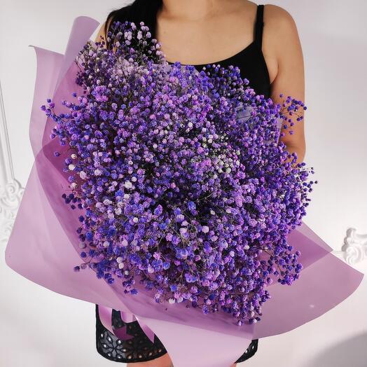 Букет из 11 фиолетовых Гипсофил  (шар сердце в подарок, условие в описании)