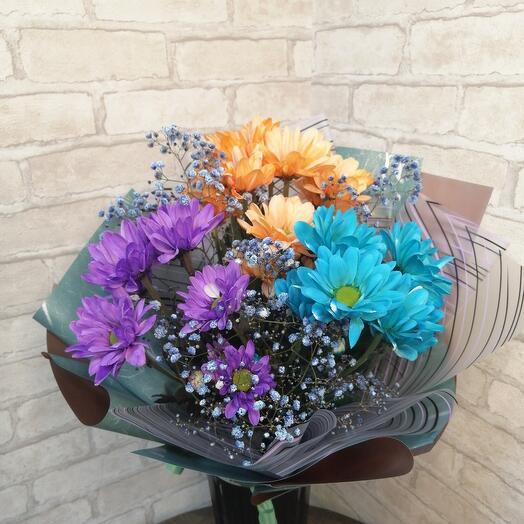 Мини комплимент из радужной хризантемы