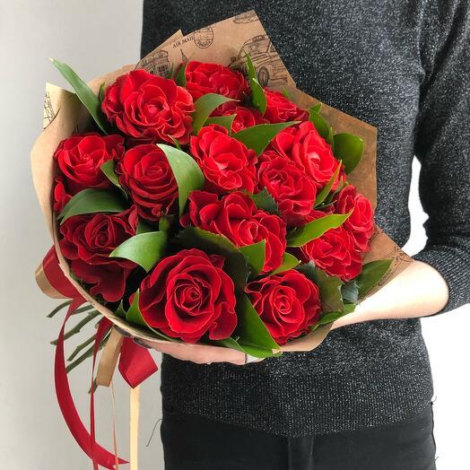 Flowers Lovers - 15 кружевных роз с зеленью