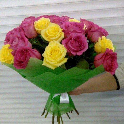 Розовые и желтые розы: букеты цветов на заказ Flowwow