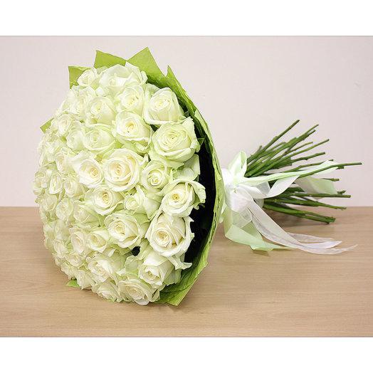 Роза Аваланж 51 шт 50 см: букеты цветов на заказ Flowwow