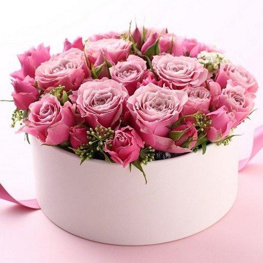 Нежная коробочка  цветами: букеты цветов на заказ Flowwow