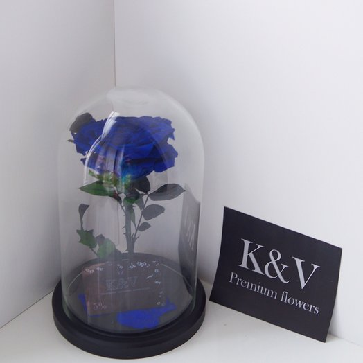 Синяя Роза в Колбе KING: букеты цветов на заказ Flowwow