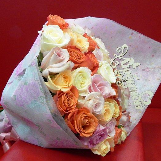Букет 37 роз «Любимой»: букеты цветов на заказ Flowwow