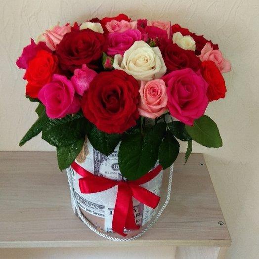 Коробка из 25 роз для нее: букеты цветов на заказ Flowwow