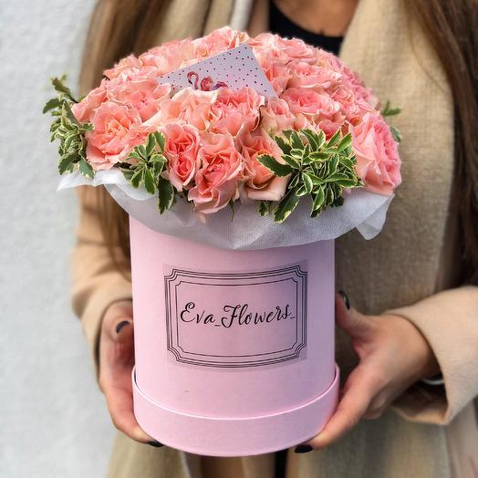 Коробочка ажурных роз: букеты цветов на заказ Flowwow