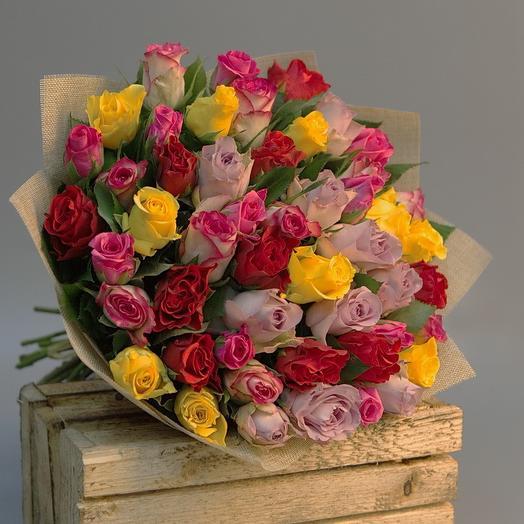 Букет из ярких роз: букеты цветов на заказ Flowwow
