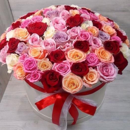 Микс из 101 розы в коробке