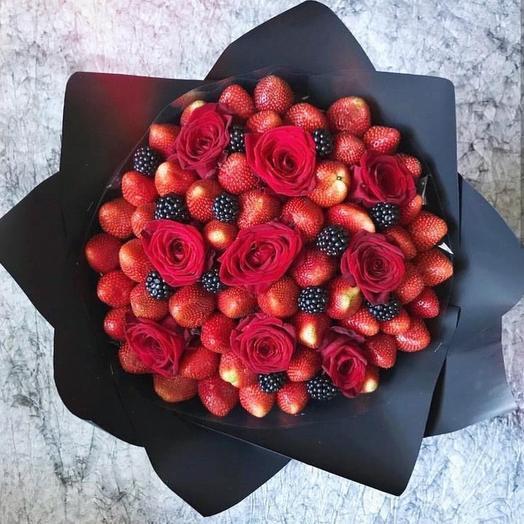 Клубничный букет «Танго»: букеты цветов на заказ Flowwow