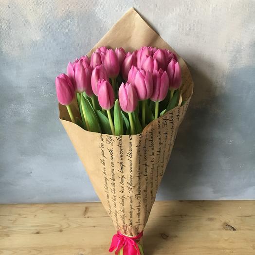25 розовых тюльпанов: букеты цветов на заказ Flowwow