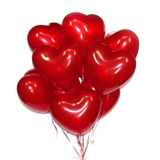 Красные шары сердца 11 шт
