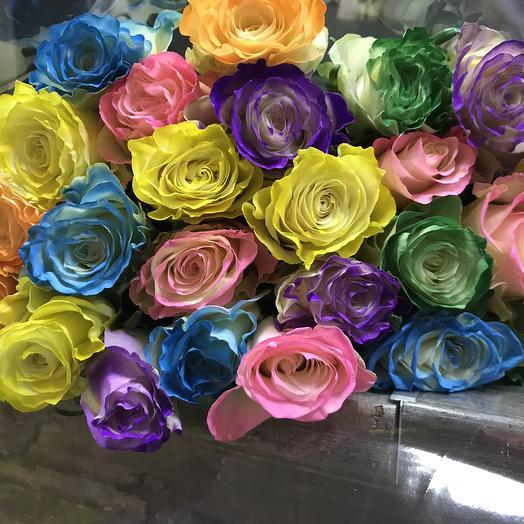 Букет из 15 радужных роз: букеты цветов на заказ Flowwow
