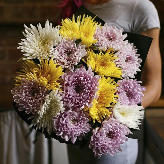 """Букет из """"15 одноголовых хризантем микс"""": букеты цветов на заказ Flowwow"""