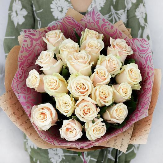 Букет из 21 кремовой розы: букеты цветов на заказ Flowwow