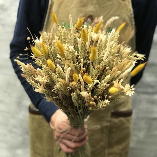 Букет из пшеницы и колосьев Лагуруса: букеты цветов на заказ Flowwow