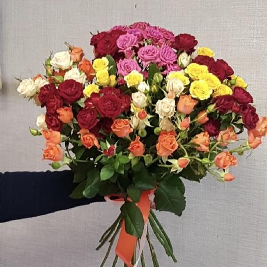 """Букет из кустовой розы """"Яркий микс"""": букеты цветов на заказ Flowwow"""
