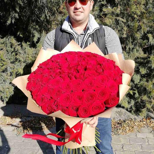 ✅ 101 роза в крафте