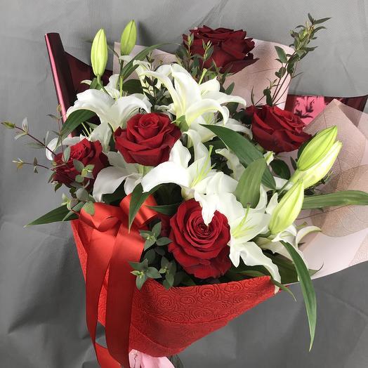 Шикарный букет с  розой премиум класса ): букеты цветов на заказ Flowwow